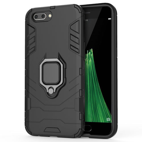 Slim Armour Shockproof Case + Magnetic Ring Holder - Oppo R11 - Black